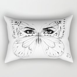 woman butterfly  black and white Rectangular Pillow