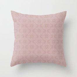 Minimal Geometric Pattern on Shell Pink Background Throw Pillow