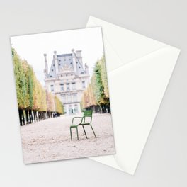 Green Chair in Tuileries Gardens in Paris, France Stationery Cards
