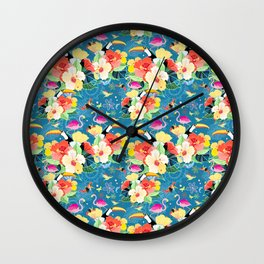 bright seamless tropical pattern with flowers and birds on a blue background Wall Clock