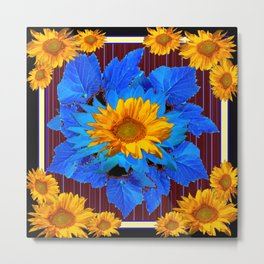 Decorative Sunflower Patterns Blue Leaves Metal Print
