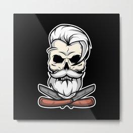Vintage Barber Skull Metal Print