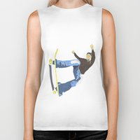 skateboard Biker Tanks featuring Skateboard 4 by Aquamarine Studio