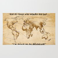 not all those who wander are lost Area & Throw Rugs featuring Not all those who wander are lost by JRyann Studio