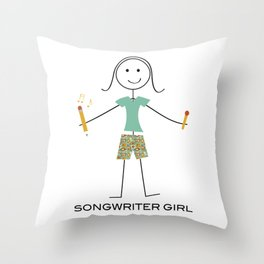 Funny Womens Songwriting Design, Girl Music Gifts, Songwriter Girl Throw Pillow