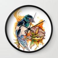 gemma Wall Clocks featuring Magpie by Gemma Pallat by ToraSumi