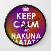 hakuna Wall Clocks featuring hakuna matata by  Alexia Miles photography