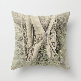 Strangler fig in forest Throw Pillow