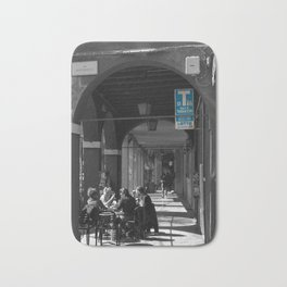 Bologna Tabacchi Blue Street Photography Black and White Bath Mat