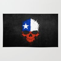chile Area & Throw Rugs featuring Flag of Chile on a Chaotic Splatter Skull by Jeff Bartels