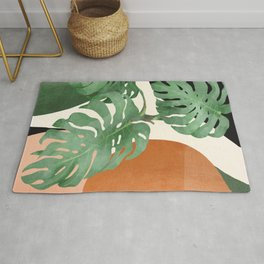 Tropical Leaves- Abstract Art  Rug