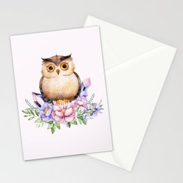 Bohomian Animal Illustration- Be Wise Little Owl Stationery Cards