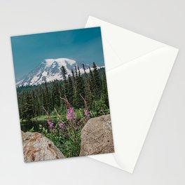 Mount Rainier Wildflower Adventure V - Pacific Northwest Mountain Forest Wanderlust Stationery Cards