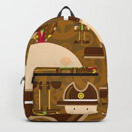 Cartoon Cowboy Sheriff Pattern Backpack