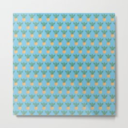 Blue Hawaii, tropical kitsch pineapple Metal Print