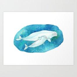 Cute Beluga whales Art Print