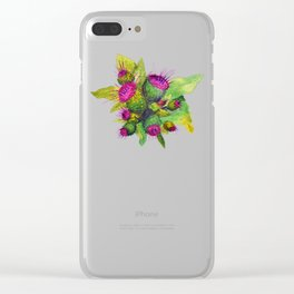 Watercolour Thistles Clear iPhone Case