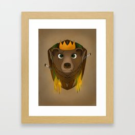 """The Warlord Bear"" with Map Texture Framed Art Print"