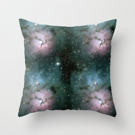Green and Pink Burst Galaxy Throw Pillow