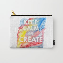 Watercolor Keep Calm and Create Carry-All Pouch