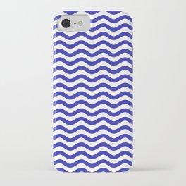 Waves (Navy & White Pattern) iPhone Case