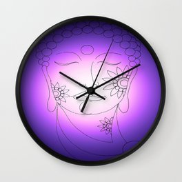 PURPLE LIGHT BUDDHA Wall Clock