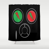rave Shower Curtains featuring RAVE MASK by shannon's art space