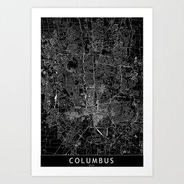Columbus Black Map Art Print
