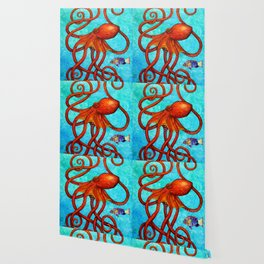 Distracted - Octopus and fish Wallpaper