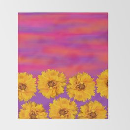 Yellow Floral Sunset Throw Blanket