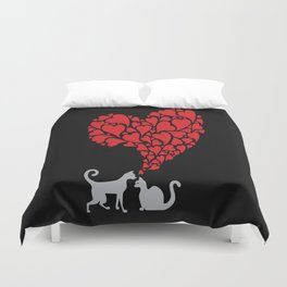 grey cats in love Duvet Cover