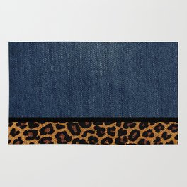 id No.1 Denim and Leopard Rug