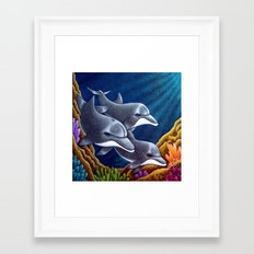 DOLPHINS IN THE REEF Framed Art Print