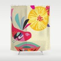bath Shower Curtains featuring Bird Bath by Rachel Lee