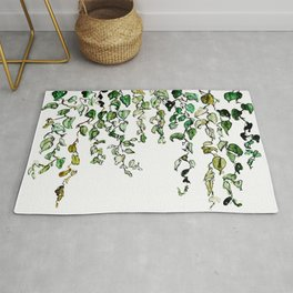 Hanging leaves - watercolor Rug