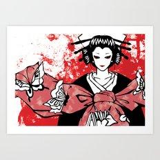 GEISHA - Japan | Vector | Manga | Blood | Kimono | Butterfly | Kabuki | Anime | Vector Art Print