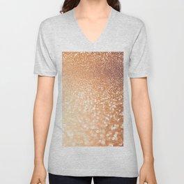 The late Sunset - Rosegold Gold glitter pattern Unisex V-Neck