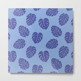 Monstera trendy - purple Metal Print