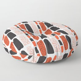 Terracotta and Black Abstract Drawn Symbols Style Floor Pillow