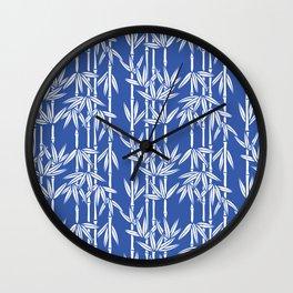 Bamboo Rainfall in China Blue/Seashell White Wall Clock