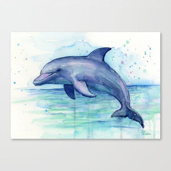 Dolphin Watercolor Sea Creature Animal Canvas Print
