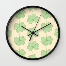 Cute Three Leaf Clover Pattern Wall Clock