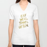 eat V-neck T-shirts featuring Eat Well Travel Often on Gold by Cat Coquillette