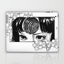 Junji Ito with cherry blossoms Laptop & iPad Skin