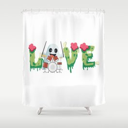 Love Musician Ghost Drummer Music Instruments  Halloween Holiday Gift Shower Curtain