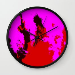 Ichisayo - Abstract Colorful Pink Red Camouflage Tie-Dye Style Pattern Wall Clock
