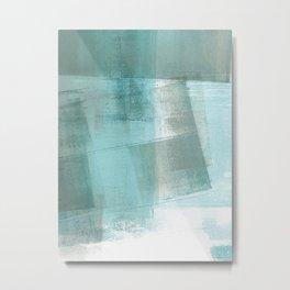 Turquoise Aqua Taupe Geometric Abstract Painting 2 Metal Print