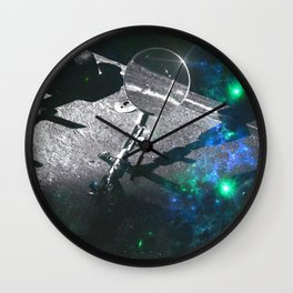 The Observer (Green/Blue Space Edit) Wall Clock