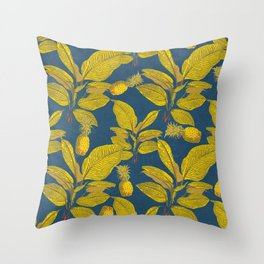 Exotic Pineapple Tropical Banana Palm Leaf Print Throw Pillow