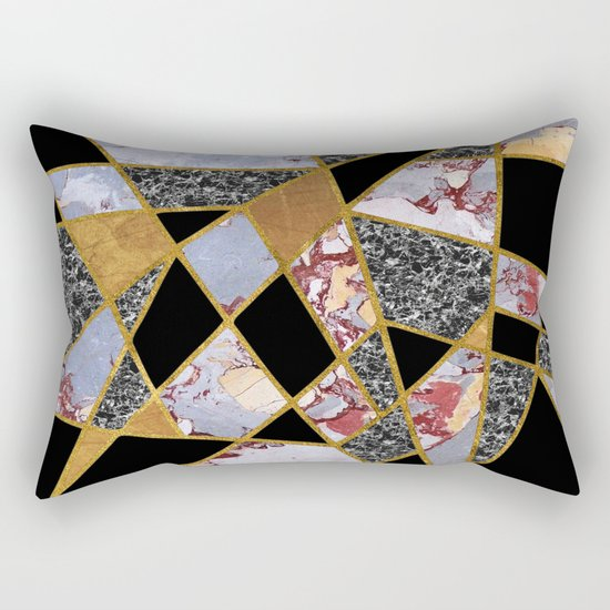 Abstract #486 Shards of Onyx, Marble & Gold Rectangular Pillow